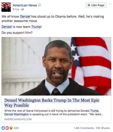 Fake Facebook news screenshot: 'Denzel Washington Backs Trump In The Most Epic Way Possible'