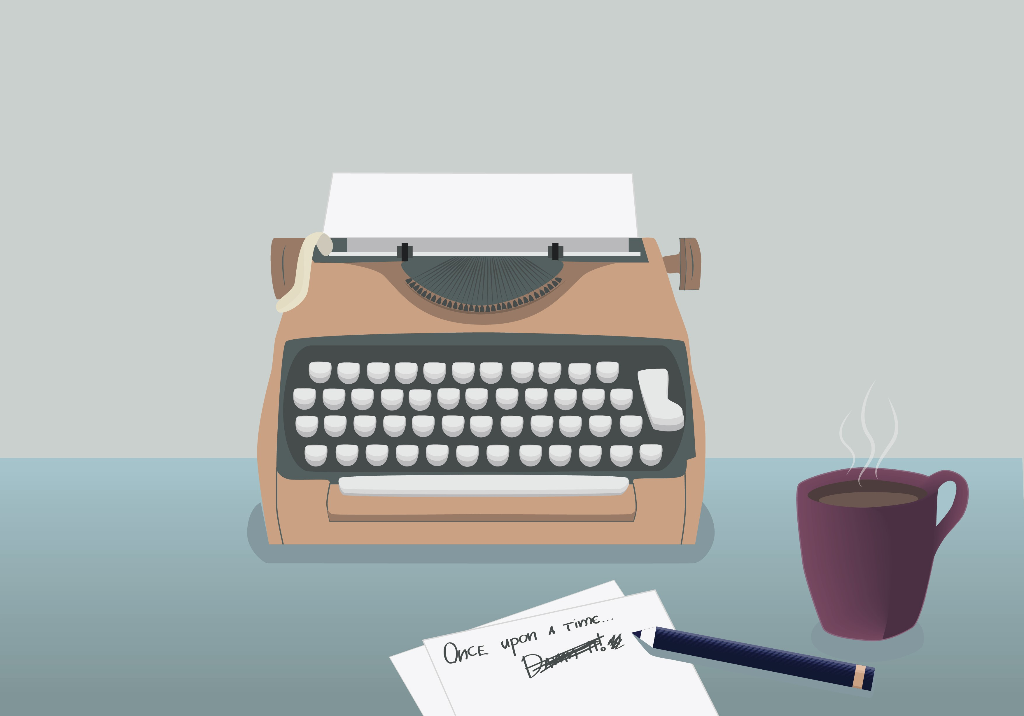 Writer's table: the typewriter, cup of coffee, sheet, and a pen